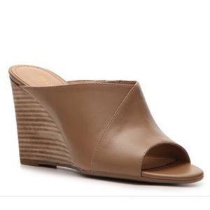 Franco Sarto Tan Open Toe Mule Wedge Heels